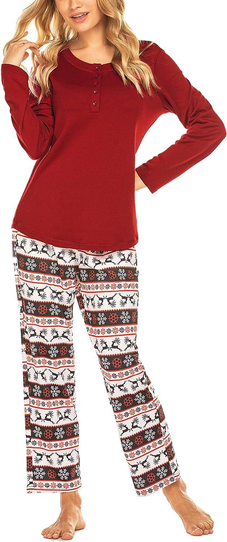 Ekouaer Womens Christmas Pajamas Sets Long Sleeve Sleepwear with Long Pants Soft Loungewear Pj Set