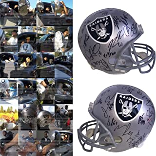 2018 Oakland Raiders Team Autographed Hand Signed Riddell Full Size Football Helmet with 33 Signatures Total, Exact Proof Photos of Signing, COA, Derek Carr, Martavis Bryant, Jared Cook, Doug Martin