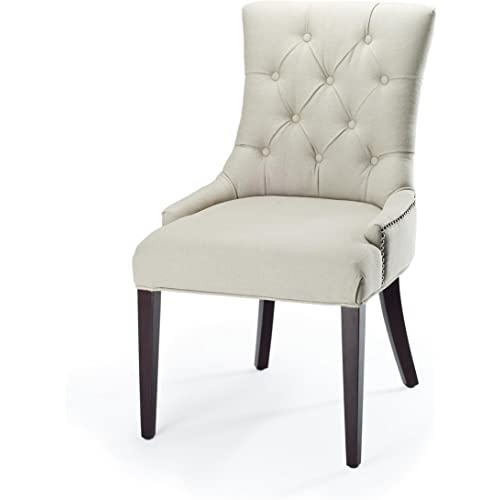 Amazon Com Safavieh Mercer Collection Erica Button Tufted Side Chair Putty Grey Furniture Decor