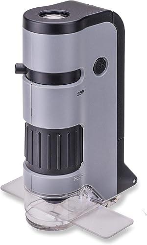 Carson MicroFlip 100-250x Microscopio de Bolsillo con luz LED y Adaptador de digiscoping para Smartphone, grey