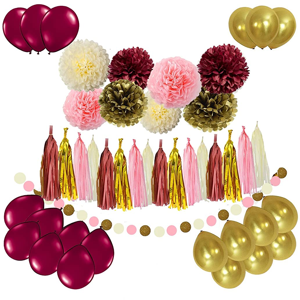 Sogorge Bridal Shower Decorations 49pcs Burgundy Pink Glitter Gold Birthday Decorations Tissue Paper Pom Pom Tassel Garland Photo Backdrop Wedding/Bachelorette Party Decorations
