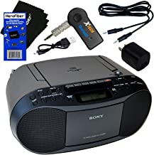 Sony Portable CD Player Boombox with AM/FM Radio & Cassette Tape Player + Wireless Bluetooth Receiver with Charger + Aux Cable for Smartphones, MP3 Players & HeroFiber Ultra Gentle Cleaning Cloth