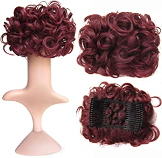 SWACC Short Messy Curly Dish Hair Bun Extension Easy Stretch hair Combs Clip in Ponytail Extension Scrunchie Chignon Tray Ponytail Hairpieces (Dark Wine Red-99J#)
