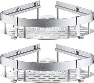 GUNMIN Adhesive Bathroom Shower Shelf Drill-Free Bathtub Corner Shelf No Drilling Shower Caddy Aluminum Alloy Kitchen Stor...