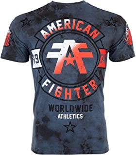 American Fighter Mens T-Shirt Silver Lake Athletic Navy Crystal WASH Gym UFC