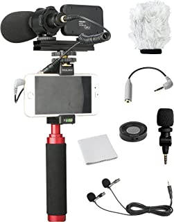 and Other Smartphones Blue Google Galaxy LG Huawei Xiaomi KANEED 2 in 1 Vlogging Live Broadcast LED Selfie Light Smartphone Video Rig Kits with Cold Shoe Tripod Head for iPhone HTC