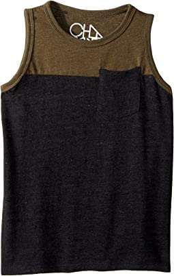 Super Soft Blocked Muscle Tank Top w/ Pocket (Toddler/Little Kids)