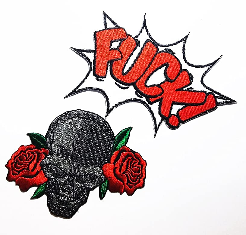 PP patch Set 2 Fck - You patch , RED ROSE SKULL Biker patch DIY Applique Embroidery Iron on Patch