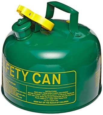 """Eagle UI-20-SG Type I Metal Safety Can, Combustibles, 11-1/4"""" Width x 9-1/2"""" Depth, 2 Gallon Capacity, Green: image"""