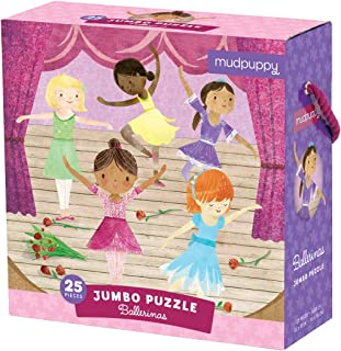 """Mudpuppy Ballerinas Jumbo Puzzle, 25 Jumbo Pieces, 22""""x22"""", Great for Kids Age 2+, Colorful Illustrations of Ballerinas on Stage, Great for Small Hands, Rope Handle on Box"""