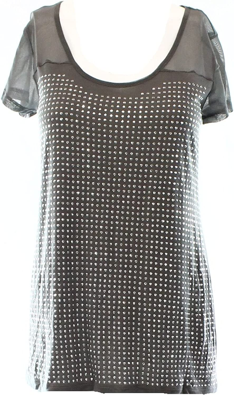 Inc International Concepts Grey Illusion-Sleeve StuddedTee M Grey
