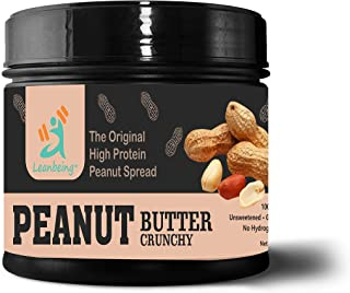 Leanbeing- Peanut Butter Crunchy 100% Natural (1 kg) |Unsweetened, Non-GMO, Gluten Free, Vegan | No nasties Added | No Hydrogenated Oil | Just Peanuts