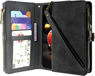 LG Aristo 2/Aristo 3 /Rebel 4 /Phoenix 4 /Rebel 3/Tribute Dynasty/Zone 4 Case/Fortune 2 Case, Premium Leather Flip Zipper Wallet Case Stand Feature with Card Holder and Wrist Strap - Zipper Black