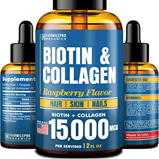 Biotin & Collagen 15,000 mcg - All-Natural Hair Growth Treatment - Made in USA - Liquid Collagen for Women & Men - Biotin ...