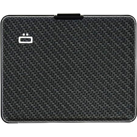 Ögon Smart Wallets - Big Stockholm Aluminium Wallet - RFID Blocking Card Holder - Up to 10 Cards and Banknotes - Carbon Effect/Large Weave