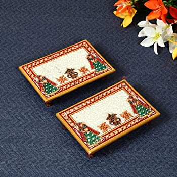Marble Puja Chowki Pair Rectangle Shape with Kalash Design by Handicrafts Paradise