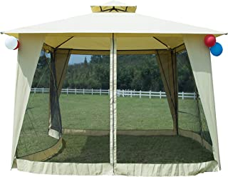 GOJOOASIS Metal Gazebo Outdoor 2-Tier Canopy Party Tent with Mesh Sidewalls 12x12 Beige