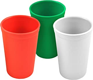 Re-Play Made in The USA 3pk Drinking Cups for Baby and Toddler - Red, Kelly Green, White (Christmas/Holiday)