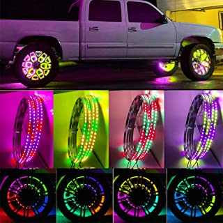 UWDESY 4pc 15.5Inch RGB Auto Multiple Dream Color Wheel Lighting kit with Dream Color Blue-Tooth Controller,288LEDs LED Li...