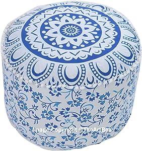 Boîte de l'art Indien Bleu ombré Mandala Coton Rond Pouf Ottoman Housse Hippie Repose-Pieds Pouf Coque, 100% Coton
