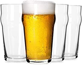 Pint Glasses,20 OZ British Beer Glass,Classics Craft Beer Glasses,Premium Beer Drinking Glasses Tumbler Set of 4, Unique D...
