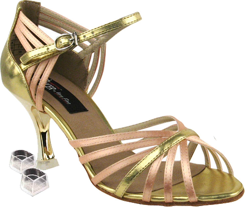 Very Fine Women's Salsa Ballroom Tango Latin Dance Shoes Style CD3012 Bundle with Plastic Dance Shoe Heel Protectors, Beige Satin & Gold 7.5 M US Heel 3 Inch