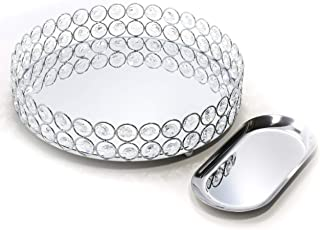 Lindlemann Mirrored Crystal Vanity Tray - Ornate Decorative Tray for Perfume, Jewelry and Makeup (Round, 10 inches, Silver)
