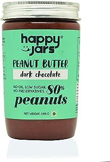 Happy Jars Dark Chocolate Peanut Butter, 290g | 80% Peanuts | Dark Chocolate | Delicious, Rich and Creamy in Texture | Gluten-Free | Vegan | No Oil | Low Sugar | No Preservatives