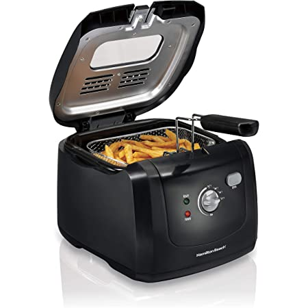 Hamilton Beach Electric Deep Fryer, Cool Touch Sides Easy to Clean Nonstick Basket, 8 Cups / 2 Liters Oil Capacity, Black