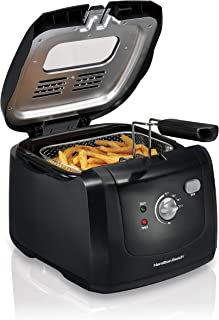 Hamilton Beach Cool-Touch Deep Fryer, 8 Cups / 2 Liters Oil Capacity, Lid with View..