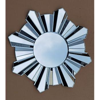 Contemporary Large Round Sunburst Wall Mirror 65cm Silver Round Mirror Home Living Decor Gift New Amazon Co Uk Kitchen Home
