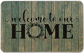 Welcome Mat for Front Door Farmhouse Rustic Decorative Entryway Outdoor Floor Doormat Durable Burlap Outdoor Rug | Welcome...