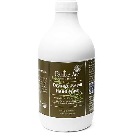 Rustic Art Organic Orange Neem Hand Wash   Soap based   Liquid Refill Pack   1100mL (1100mL)