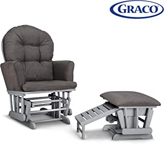 Graco Parker Semi-Upholstered Glider and Nursing Ottoman, Pebble Gray/Gray Cleanable Upholstered Comfort Rocking Nursery Chair with Ottoman