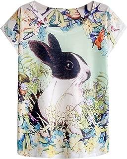 Futurino Women's Graphic Funny Bunny Print Short Sleeve Tops Casual Tee Shirt