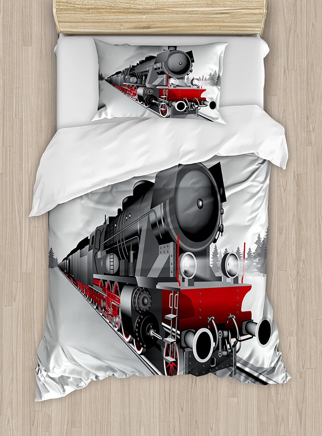 Ambesonne Steam Engine Duvet Cover Set Twin Size, Locomotive Red Black Train on Steel Railway Track Travel Adventure Graphic Print, Decorative 2 Piece Bedding Set with 1 Pillow Sham, Red Grey
