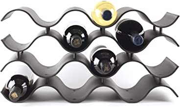 Baridoo Wine Rack. Stackable Countertop Wine Bottle Stand. 12 Bottles Wine Holder Organizer for Table Top, Pantry, Cabinet, Refrigerator. Wine Bar Polypropylene Lightweight Storage (Black).