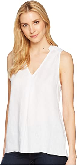 Handkerchief Linen Sleeveless Shirt with Pintuck Detail