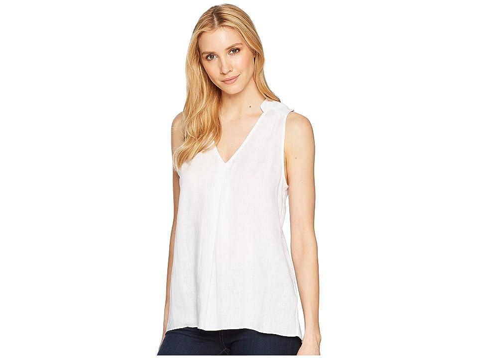 Elliott Lauren Handkerchief Linen Sleeveless Shirt with Pintuck Detail (White) Women