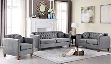Container Furniture Direct Kitts Classic Chesterfield Upholstered Sofa, Loveseat and Chair Set, Grey