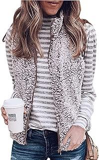 Women's Warm Sherpa Fleece Zip Up Reversible Vest Sleeveless Lightweight Jacket Outwear with Pockets