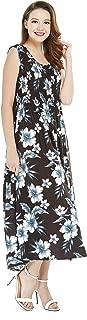 Women's Hawaiian Maxi Tank Elastic Luau Dress in Bloom