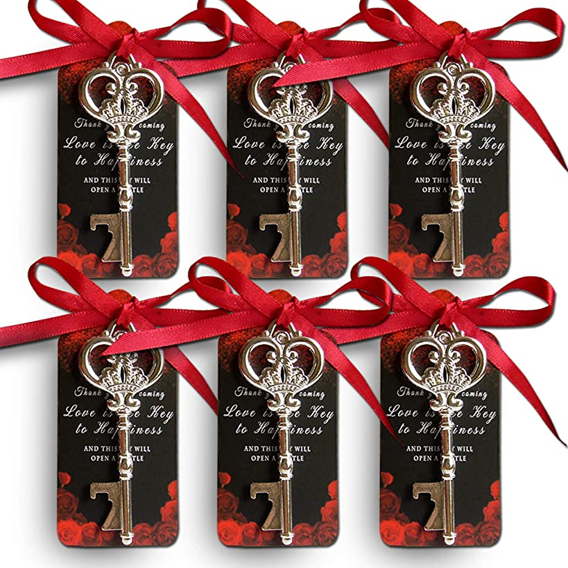 25 Wedding Favors for Guests, Sturdy Shiny Silver Key Bottle Opener Wedding Favor with Tag, Wedding Party Favors, Skeleton Key Bottle Opener, Bridal Shower Favors, Vintage Wedding Decoration Souvenirs