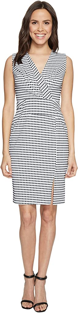 Adrianna Papell - Gingham Check Sleeveless CF Fold Detail Fitted Dress