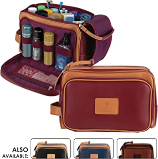 """Cruelty-Free Leather Travel Toiletry Bag/Dopp Kit by Pierre LaCroix 