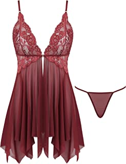 Joyaria Babydoll Lingerie for Women Open Front Lace Sheer Chemise