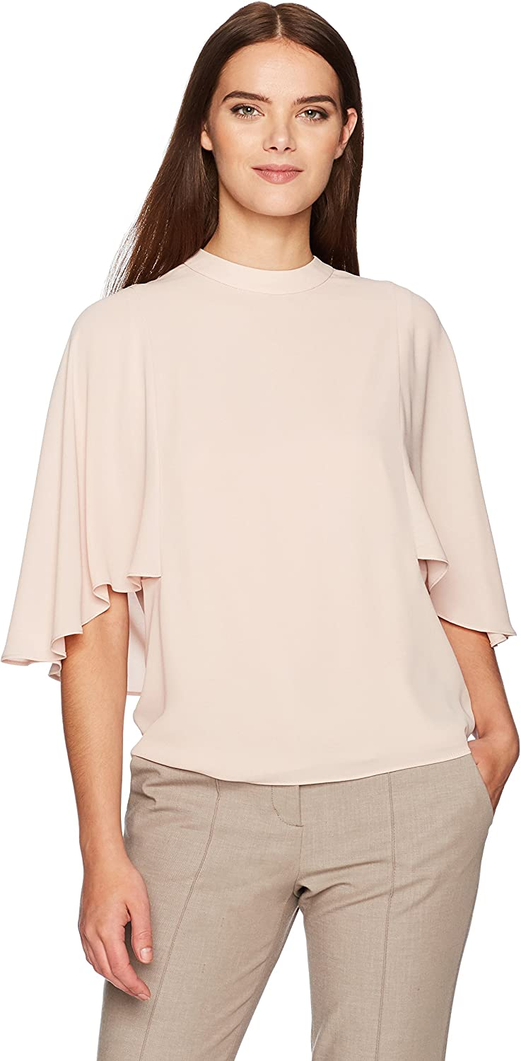 BCBGMAXAZRIA Womens Ruthie Woven Draped Back Top Blouse