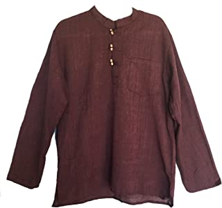 Mens Tunic Handloomed Cotton 3-Wooden Button Loop Closure, Mandarin Collar