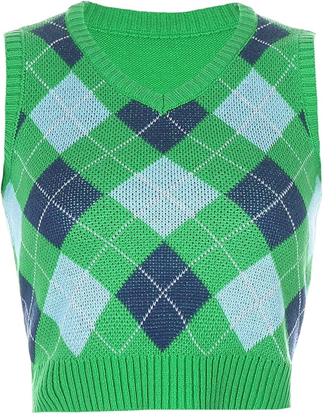 V Neck Vintage Argyle Sweater Vest Women Black Sleeveless Plaid Knitted Crop Sweaters Casual Autumn (Color : 10-Green, Size : Small)