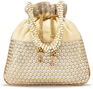 Peora Potli Bags for Women Evening Bag Clutch Ethnic Bride Purse with Drawstring (P05CRM)